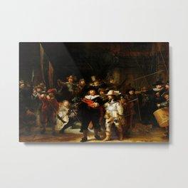 REMBRANDT van Rijn (Dutch, 1606-1669) - NIGHT WATCH [Militia Company of District II under the Command of Captain Frans Banninck Cocq] - Date: 1642 - Style: Baroque, Tenebrism - Media: Oil - Digitally Enhanced Version (1000dpi) - Metal Print