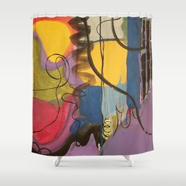 Crazy Mad World Multi Colored Abstract Shower Curtain