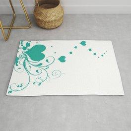 Aquamarine Valentine Hearts On A White Background Rug