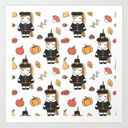 cartoon thanksgiving pattern with pilgrim unicorns, pumpkins, apples, pears, leaves and acorns Art Print
