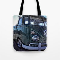 vw Tote Bags featuring vintage vw by Joedunnz
