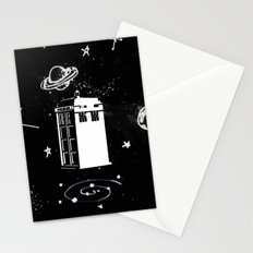tardis black and white universe Stationery Cards
