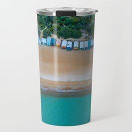 Iconic beach huts on a beach in Australia aerial landscape Travel Mug