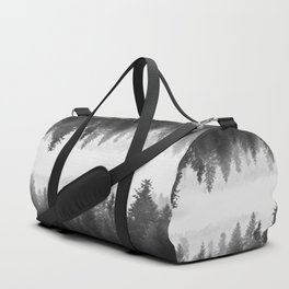 Black and white foggy mirrored forest Duffle Bag