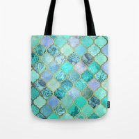 moroccan Tote Bags featuring Cool Jade & Icy Mint Decorative Moroccan Tile Pattern by micklyn