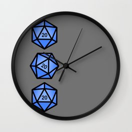 Blue d20 Wall Clock