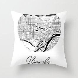 Burnaby Area City Map, Burnaby Circle City Maps Print, Burnaby Black Water City Maps Throw Pillow