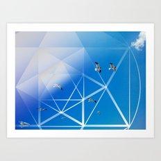 Gulls in Hexagram Flight Art Print