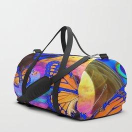 SURREAL BLUE  MONARCH BUTTERFLIES & IRIDESCENT BUBBLES  ART Duffle Bag