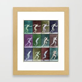 Horse Motion Study Colorful Beautiful Horse Trotting Jumping HorseRrace Gift Idea Framed Art Print