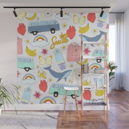 vsco girl - sticker like pattern Wall Mural