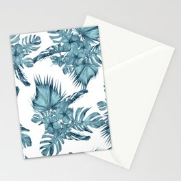 Tropical Palm Leaves Hibiscus Flowers Blue Stationery Cards
