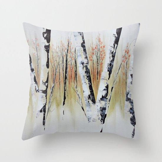 October Birch Forest Throw Pillow