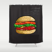burger Shower Curtains featuring Burger by YusufSangdes