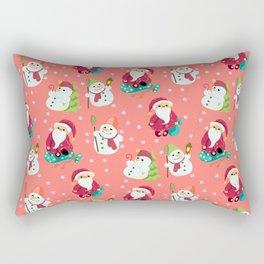 Pink Winter Forest with Cute Snowmen and Santas Rectangular Pillow