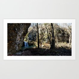 Alone in Secret Hollow with the Caves, Cascades, and Critters - First Glimpse of the Falls Art Print