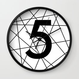 Prime number 5 / minimalist design Wall Clock