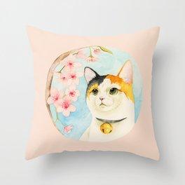"""""""Hanami"""" - Calico Cat and Cherry Blossom Throw Pillow"""
