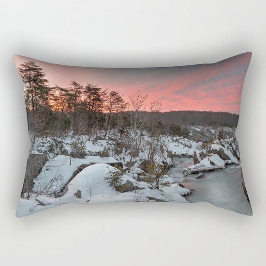Great Falls Winter Twilight Rectangular Pillow