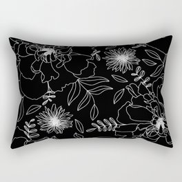 Black Peony Blooms Modern Floral Print in Black and White Rectangular Pillow