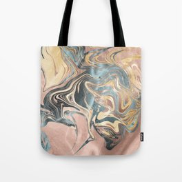 Liquid Gold and Rose Gold Marble Tote Bag