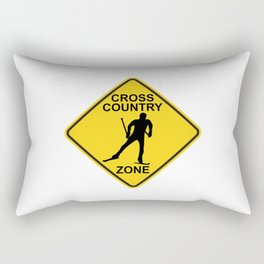 Cross Country Skiing Zone Road Sign Rectangular Pillow