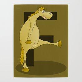 Pony Monogram Letter F Poster