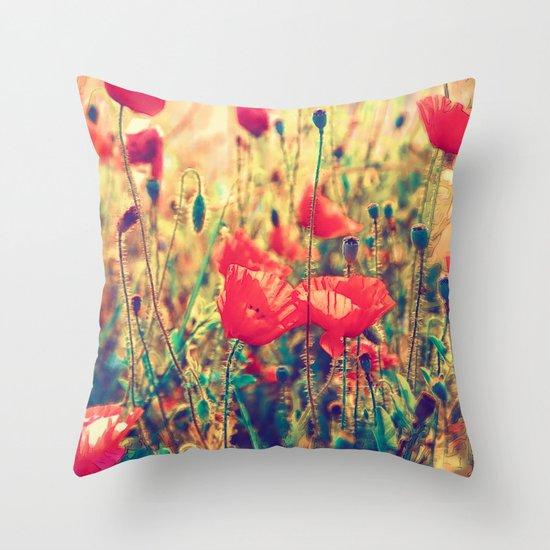 Morning Light - Poppy Field Throw Pillow