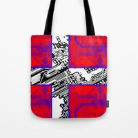 denmark Tote Bags featuring circuit board Flag (Denmark) by seb mcnulty