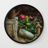 peonies Wall Clocks featuring Peonies by  Robin-Lee