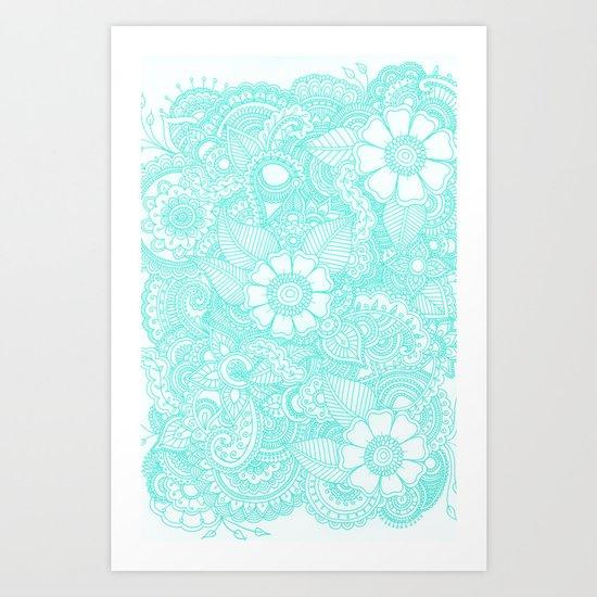Henna Design - Aqua Art Print