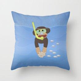 Sock Monkey Snorkeling Throw Pillow