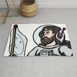 Modern astronaut creative vector illustration. Man with flag in universe. Cosmos space travel on the Rug