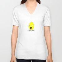 lemongrab V-neck T-shirts featuring Lemongrab by Hank Kellstrom