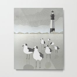 Seagulls Lighthouse Metal Print