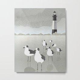 Seagulls Lighthouse Metal Print