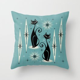 Mid Century Meow Retro Atomic Cats on Blue Throw Pillow