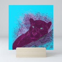 Panther on a branch - Cyan Mini Art Print