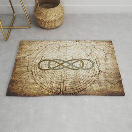 Double Infinity Silver Gold antique Rug