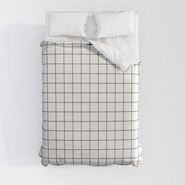 Black and White Thin Grid Graph Duvet Cover
