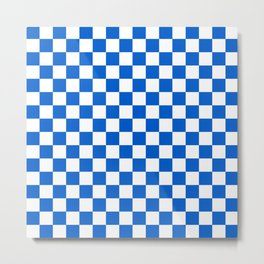 Gingham Brilliant Blue Checked Pattern Metal Print