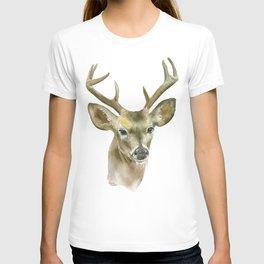 Buck Watercolor Painting Deer Fine Art T-shirt