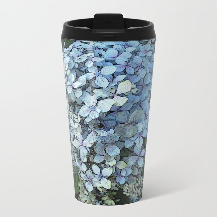 Blue Hydrangea Metal Travel Mug