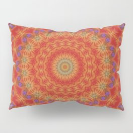 Intricate Red Mandala With Accents of Lilac and Gold Pillow Sham