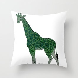 Giraffe is for Green Throw Pillow