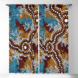 Authentic Aboriginal Art - Wetland Dreaming Blackout Curtain