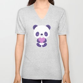Cute purple baby pandas Unisex V-Neck