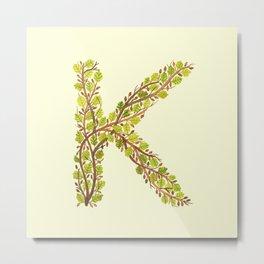 Leafy Letter K Metal Print