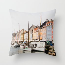 The Row | City Photography of Boats and Colorful Houses in Nyhavn Copenhagen Denmark Europe Throw Pillow