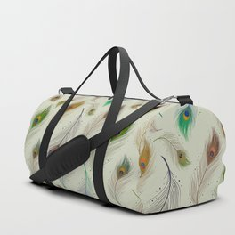 Colorful Realistic Peacock Feather Pattern Duffle Bag